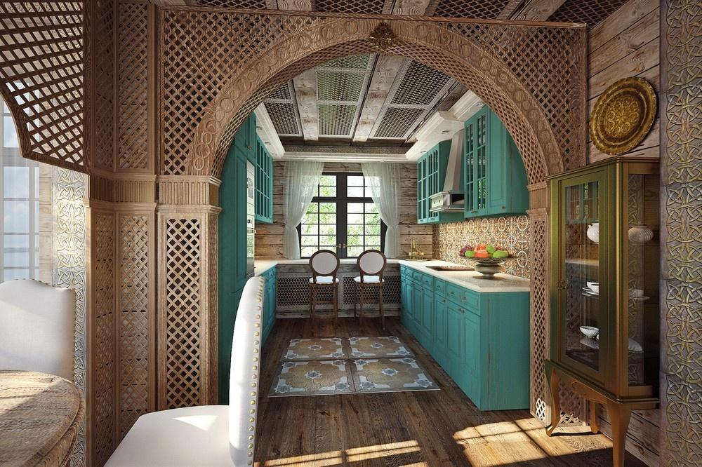 Кухня в голубой эмали в восточном стиле