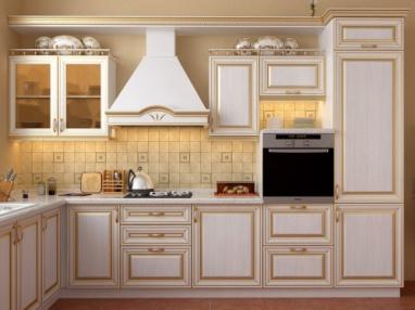 Белая классическая кухня МДФ эмаль с патиной №3