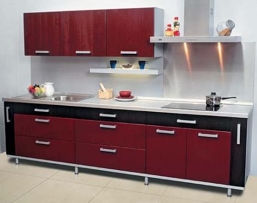 Кухня Hi-Tech бордовая с чёрным МДФ в пластике
