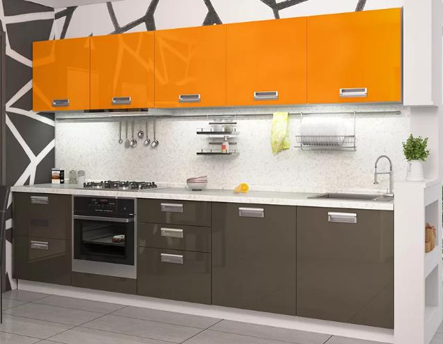 Прямая кухня из пластика оранжевая/серая
