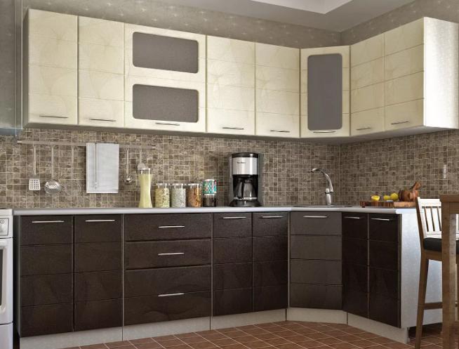 Кухонный гарнитур из ПВХ бежевый/коричневый