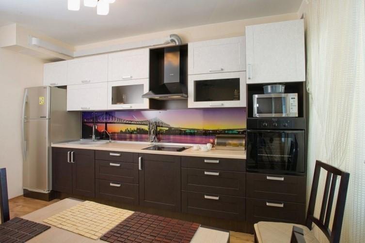 Прямая кухня с фасадами квадро скандинавского стиля