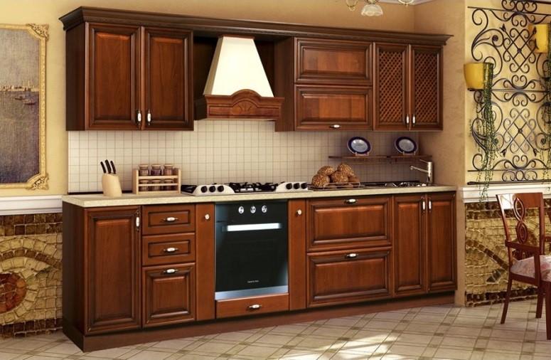 Прямая классическая кухня из массива