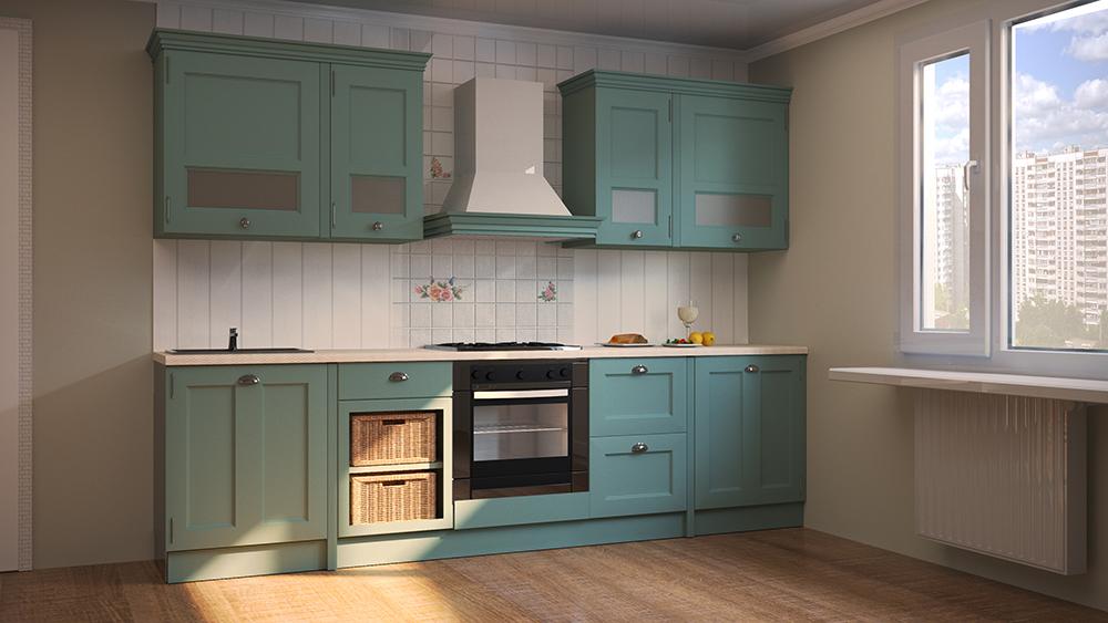 Кухня в стиле кантри бирюзового цвета