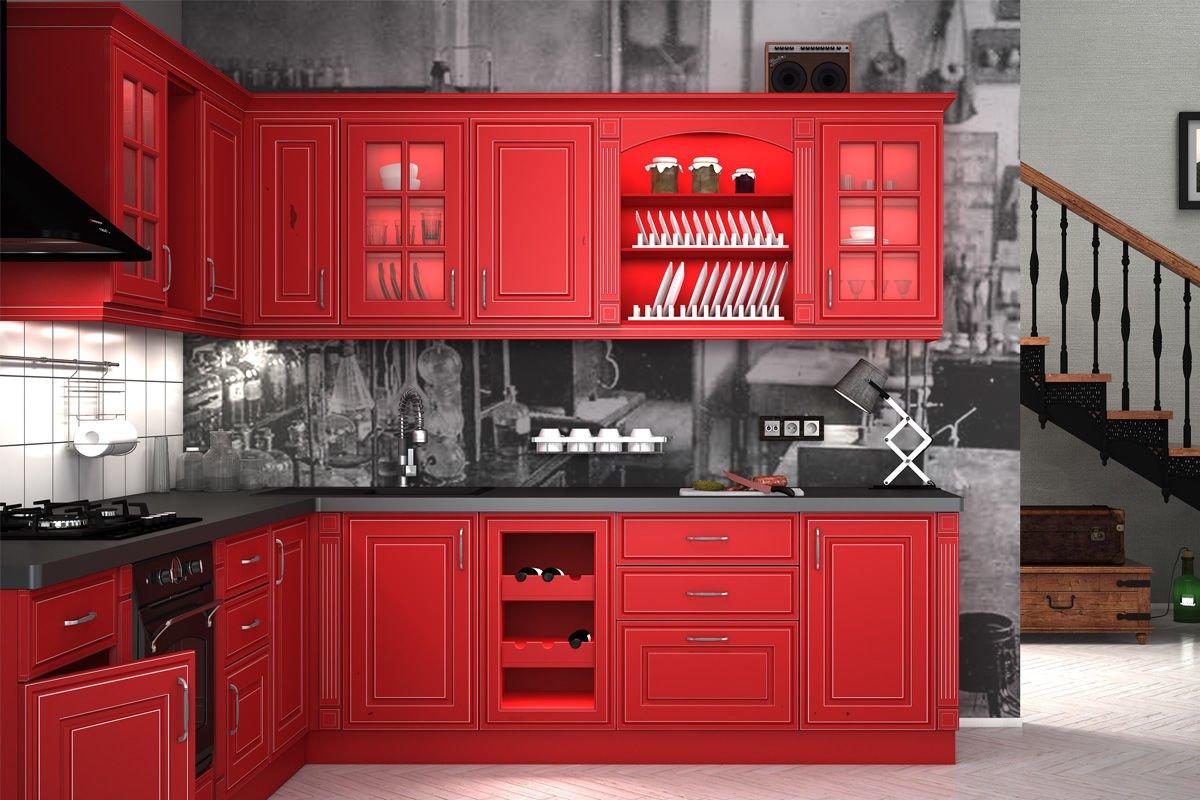 Угловая красная кухня в краске в стиле кантри