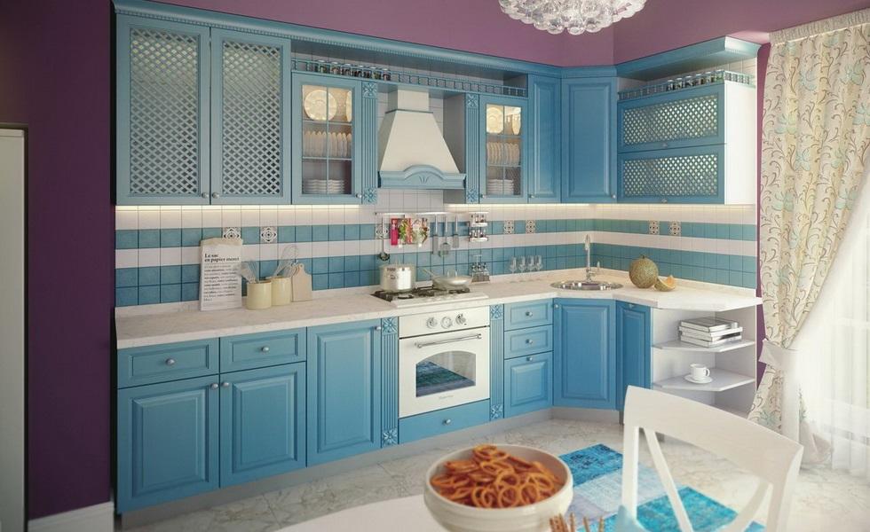 Голубая кухня в деревенском стиле с фасадами мдф шпон