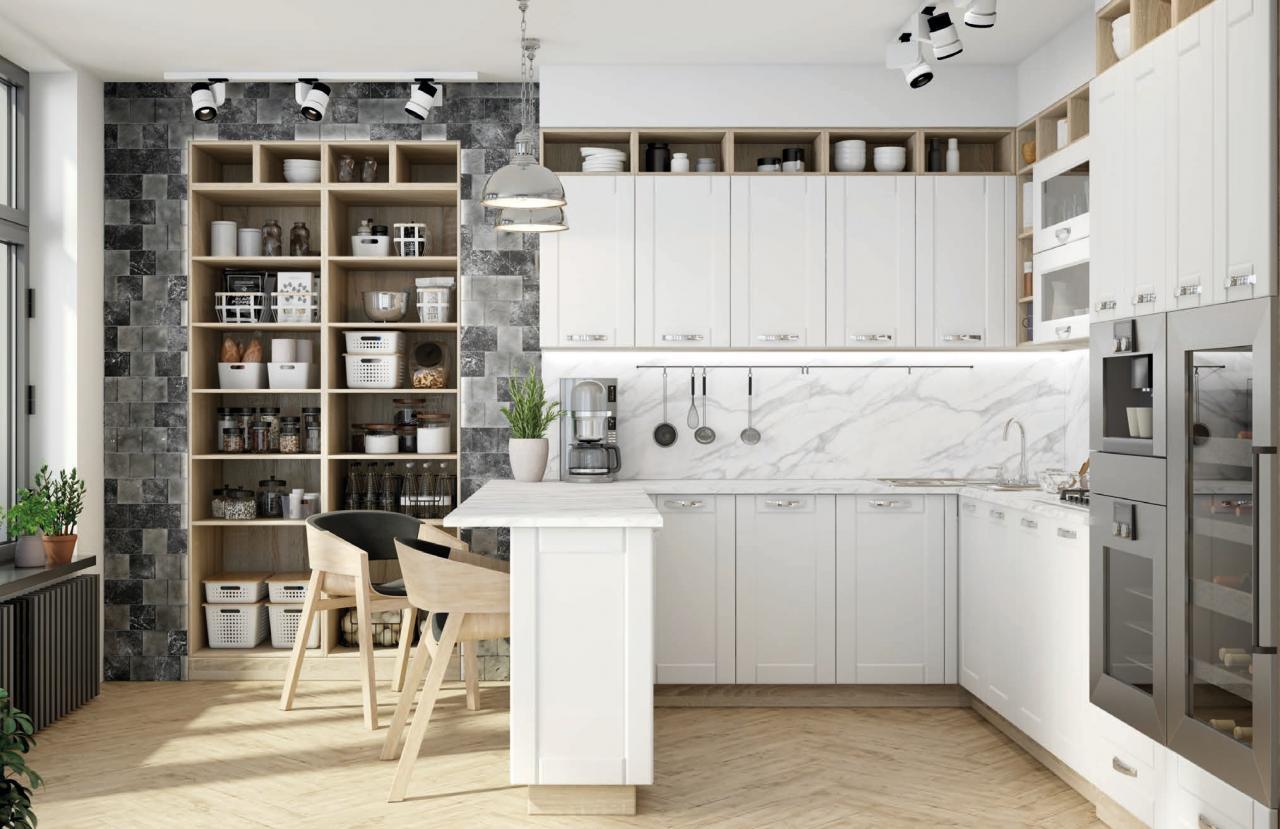Аделия -кухонный гарнитур белый в скандинавском стиле