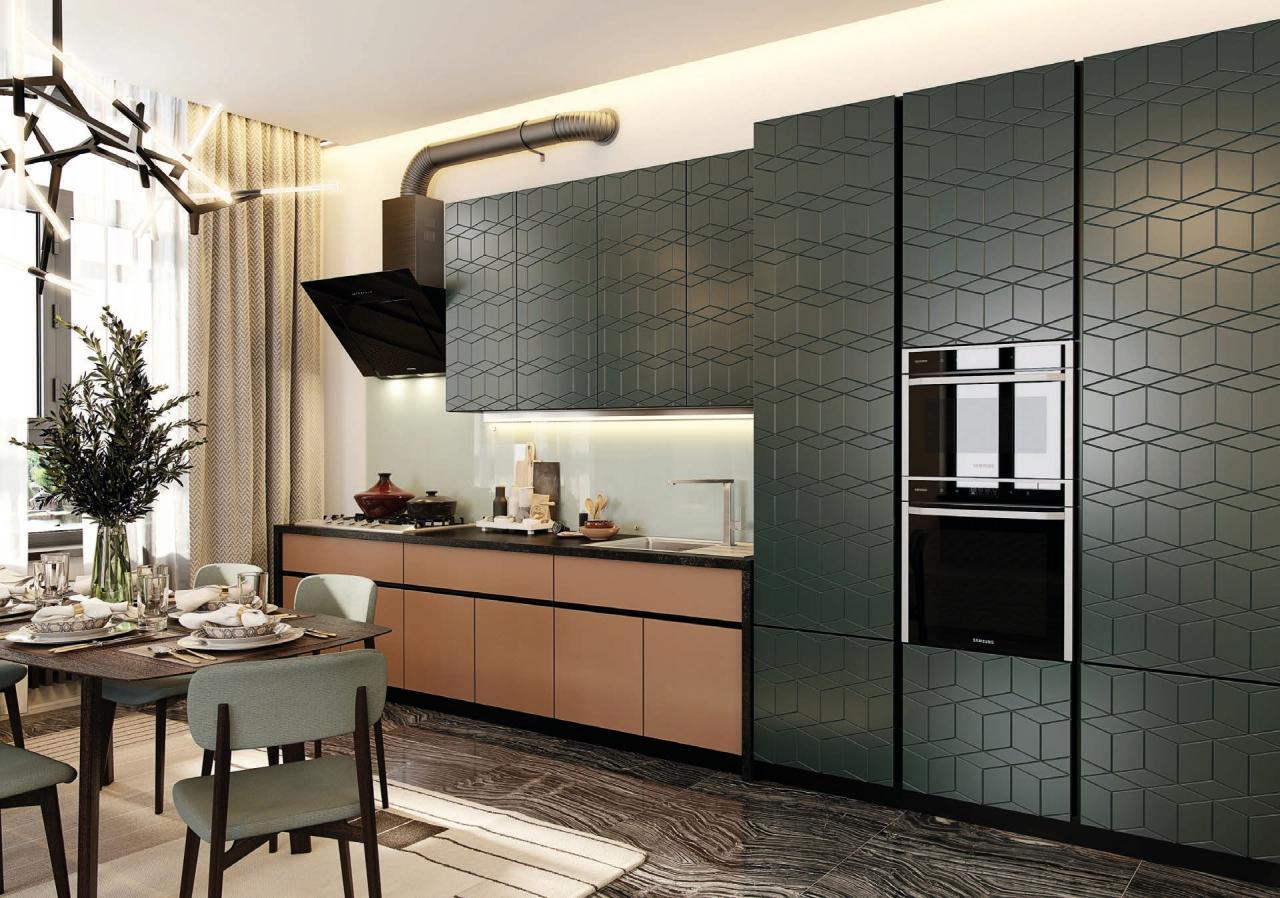 Гармония - современная кухня с высокими фасадами без ручек