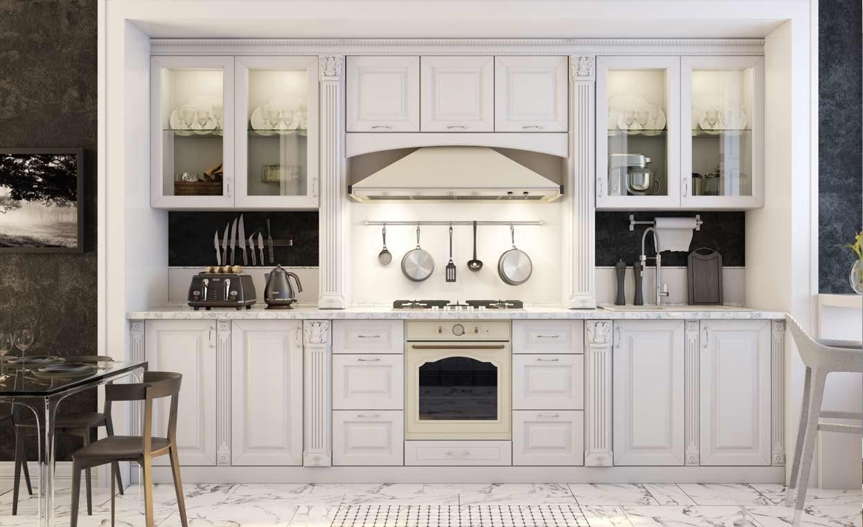 Белая кухня из МДФ ПВХ с серебряной патиной ''Дворцовая''