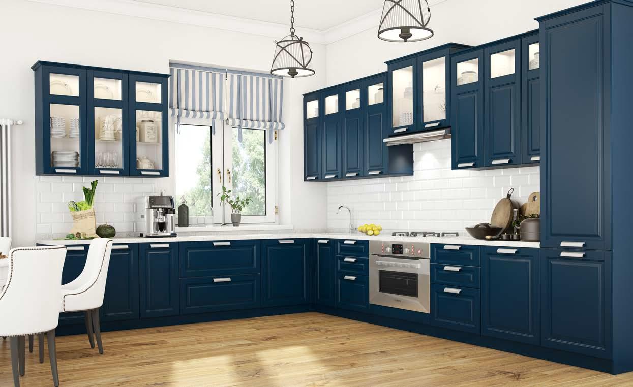 Синяя кухня с фасадами Премиум