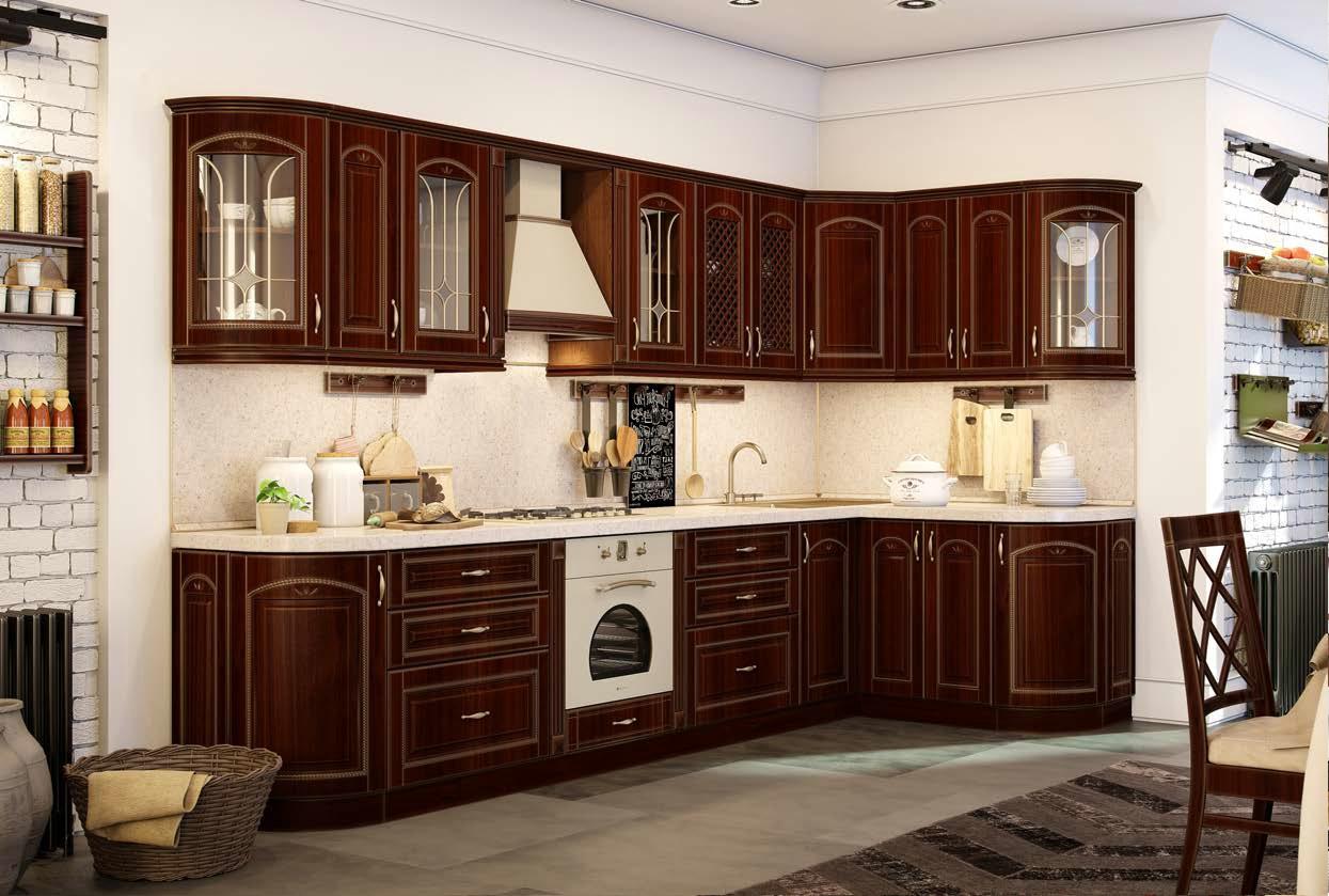 Софья-  красивая классическая кухня цвета махагон