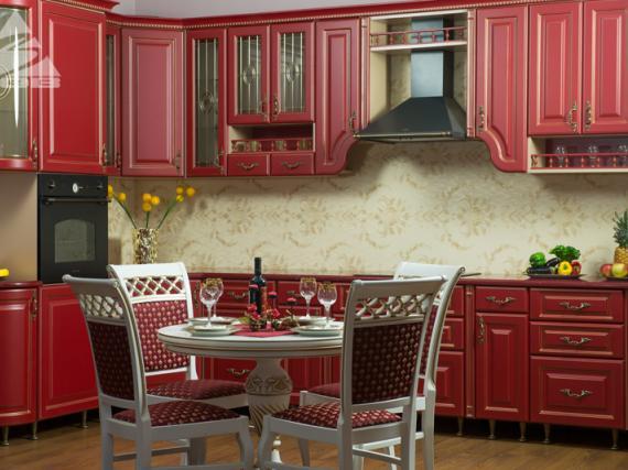 Роскошная бордовая кухня с патиной МДФ эмаль ''Элитная''