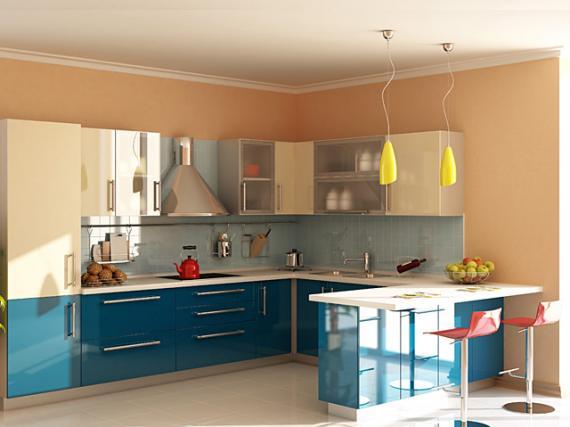 Яркая кухня МДФ пластик ''Небеса'' на заказ