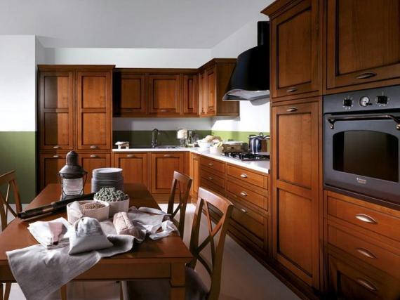 Классическая простая кухня из массива дерева дуба ''Классика''