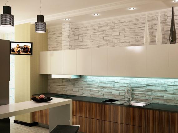 Белая глянцевая кухня с интегрированными ручками с модным параллельным расположением