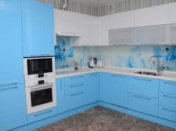 Кухня голубая МДФ пленка