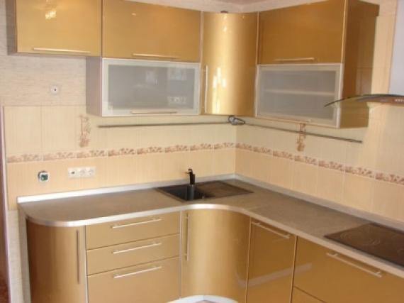 Индивидуальная кухня золотая в эмали образец №4 МДФ(эмаль)