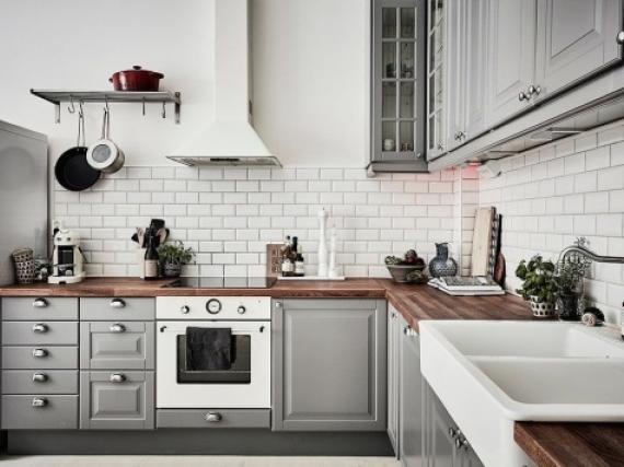 Модная кухня в эмали скандинавский стиль  фото работы МДФ(эмаль)