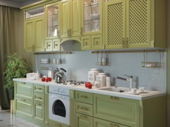 Стильная кухня из МДФ в оливковом цвете фото работы №2
