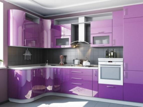Модная сиреневая кухня в эмали стиль модерн фото работы №8