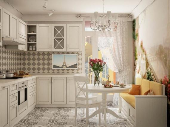 Угловая кухня в неоклассическом стиле кремового цвета