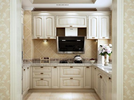 П-образная кухня маленькая с классическими фасадами в ангийском стиле