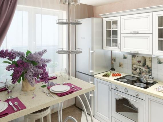 Белая кухня в шпоне в английском стиле с барной стойкой