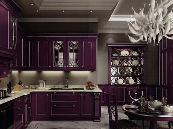 Классическая кухня с фрезерованными фасадами фиолетового цвета