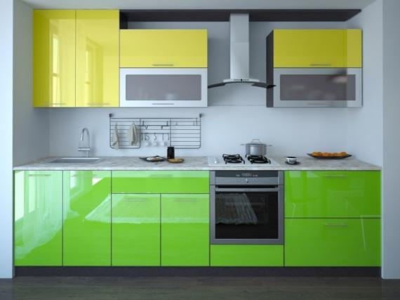 Яркая маленькая прямая  кухня в стиле модерн