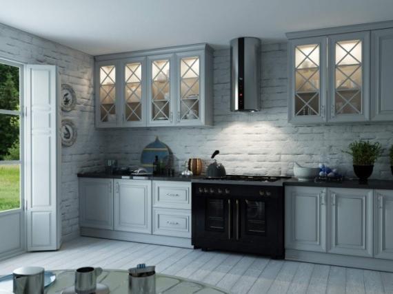 Кухня крашеная с перекрестиями в витражах
