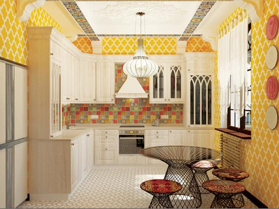 кухня в восточном стиле в эмали с патиной