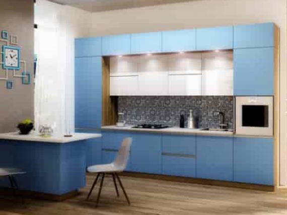 Голубая кухня в эмали 3 яруса