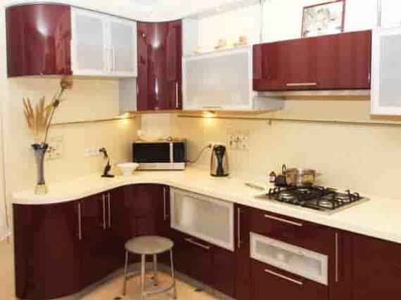 Кухня бордовая в эмали