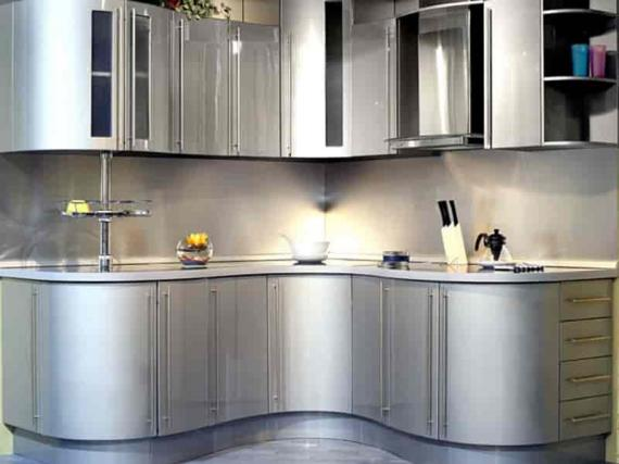 Кухня маленькая радиусная в эмали серебро