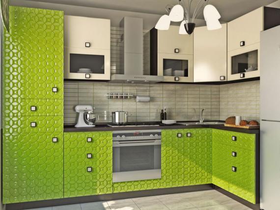 Салатовая кухня с фасадами 3Д
