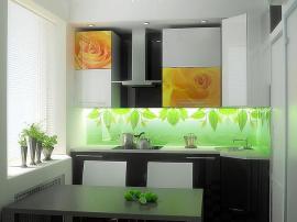 Алюминиевая маленькая кухня с фотопечатью Розы и стеклянной стеновой панелью с подсветкой