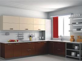 Бежевый с коричневым кухонный гарнитур с металлическими элементыми и шторками цвет шоколад с молоком МДФ ПВХ