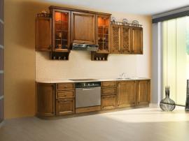 Благородная прямая кухня массив цельного дерева фасад ольха ретро с радиусным элементом