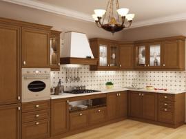 Элитная кухня из массива дерева со встроенным холодильником шикарная и строгая