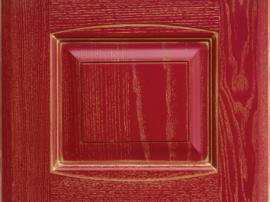 Фасад кухня массив красный алый с золотой патиной с фрезеровкой двойной аркой
