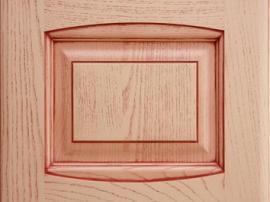Фасад кухня массив розовый караловый с красной патиной с фрезеровкой двойной аркой