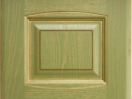 Фасад кухня массив зелёный с золотой патиной с фрезеровкой двойной аркой