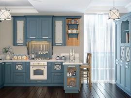Голубая кухня Модерн Прованс с итальянскими фасадами