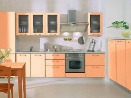 Кухня абрикосовая МДФ в пластике нежная уютная