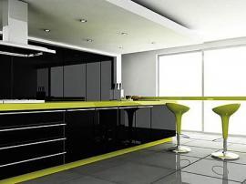 Кухня акрил высокий глянец черный с ярко салатовой окантовкой современный модный стиль