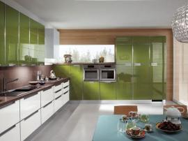 Кухня акрилайн Acrilayn стильная угловая эксклюзивная травяной зеленый с белым СДК