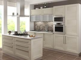 Кухня белая с рамочными фасадами древесной текстуры современный стиль