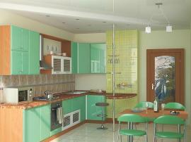 Кухня блестящая зеленоватая недорогая МДФ