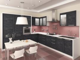 Кухня c черными фасадами древесной текстуры СДК