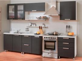 Кухня черная прямая МДФ в пластике в кромке ПВХ мужская современная кухня
